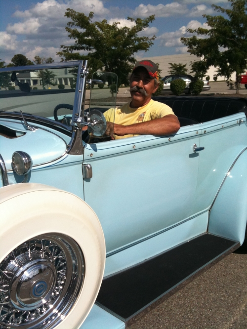 Tommy in his Dad's award winning hot rod.  Go to www.efairborn.com for much more on the car and the Mayenschein family.